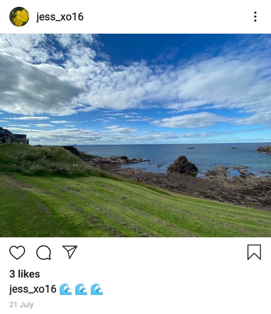 Screen capture of Jess' Instagram post of a blue sky with a few clouds, the sea and some green grass in the foreground.